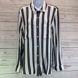 BP Nordstrom Blue and White Striped Button Blouse